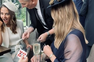 Birmingham Magician Owen Strickland performing mix and mingle magic at Moxhull Hall Wedding