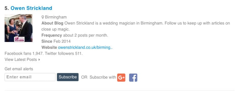 Owen Strickland Magic in Top 10 UK Blog sites!