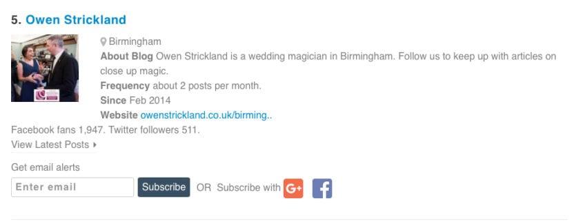 Owen Strickland Magic in Top 10 UK Blog sites!